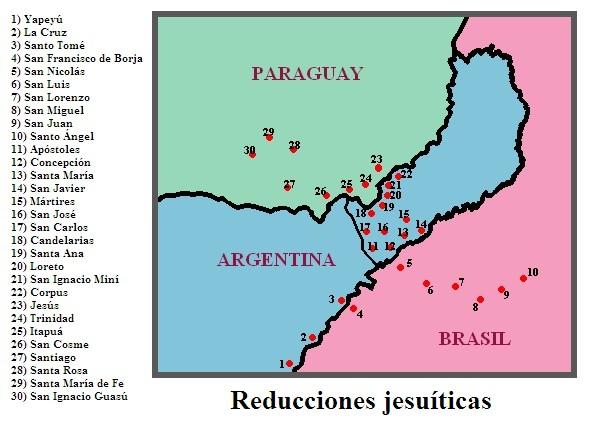 Карта иезуитских редукций