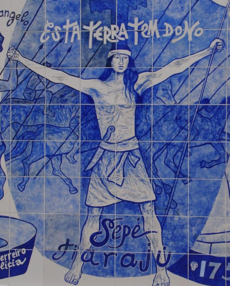 Хосе «Сепё» Тиаражу стал символом для индейцев и вообще латиноамериканских леваков. Это граффити из Бразилии